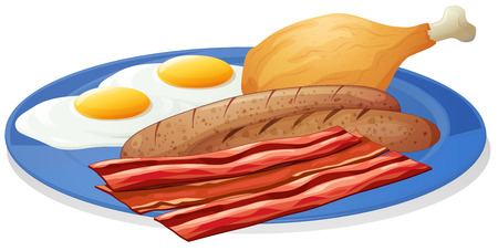 deep fried: Illustration of a plate of eggs and bacon