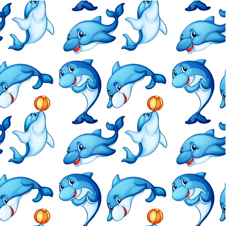 Illustration of the seamless design of dolphins on a white background