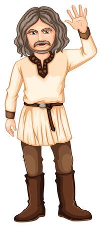 hombre fuerte: Ilustraci�n de un vikingo en un fondo blanco