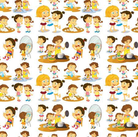cartoon washing: Illustration of seamless chores