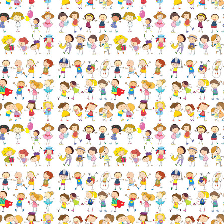 man and child: Illustration of a seamless design of a group of people on a white background