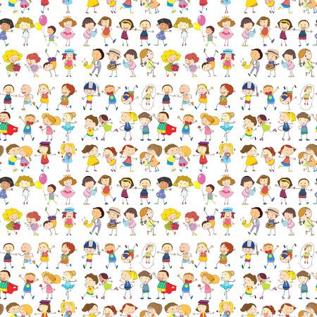 margen: Ilustración de un diseño sin fisuras de un grupo de personas sobre un fondo blanco