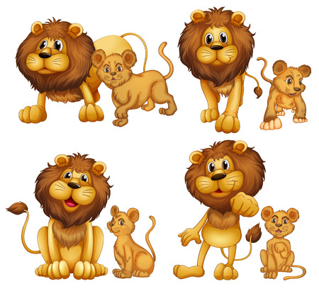 family: Illustration of a set of lions