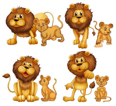 leon bebe: Ilustraci�n de un conjunto de leones Vectores