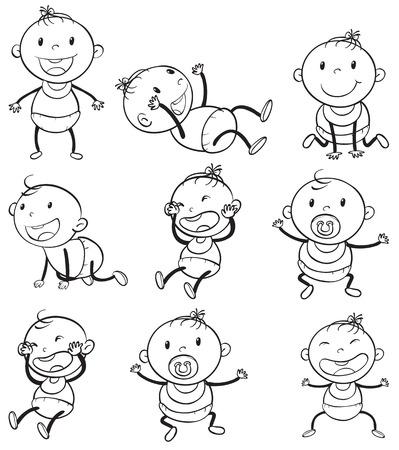 Ilustración de los bebés con distintos estados de ánimo sobre un fondo blanco
