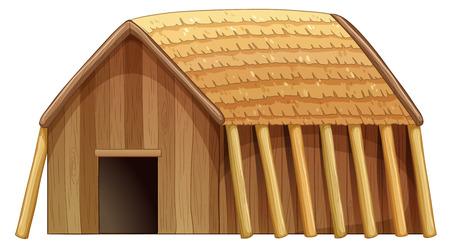hospedaje: Ilustración de una casa de madera