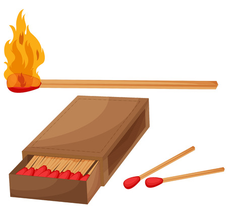 box of matches: Illustration of matches and a match box