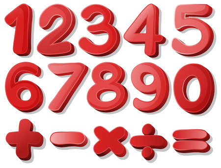 Illustration of red number Vector