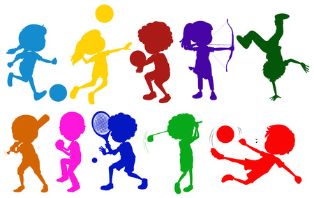 Illustration of the coloured sketches of kids playing with the different sports on a white background Stock Illustratie