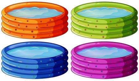 kiddie: Illustration of the kiddie pools on a white background Illustration