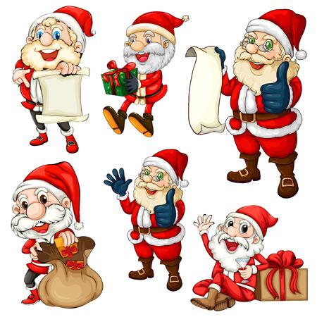 alcohol series: Illustration of many santa