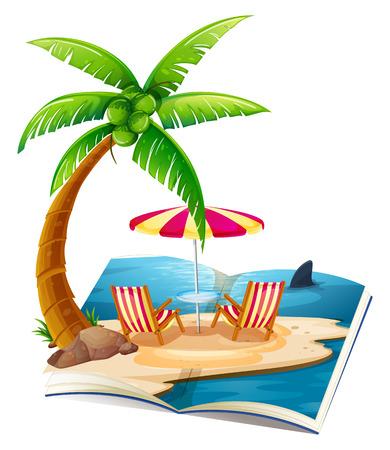 Illustration einer Popup-Buch der Strand Standard-Bild - 30922830