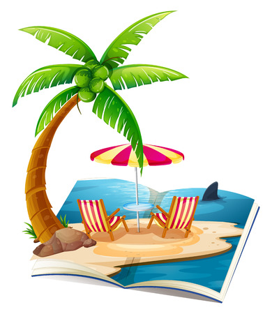Illustration of a popup book of beach Vector