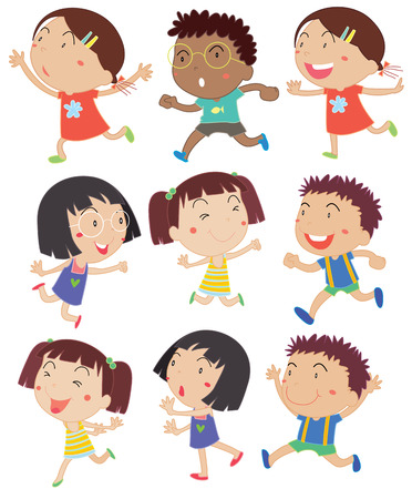 Illustration of girls and boys running Vectores