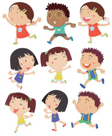Illustration of girls and boys running Illustration