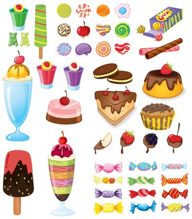 Illustratie van de verschillende snoepjes op een witte achtergrond