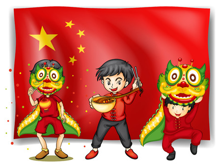 Illustration of a flag of china and people   Vector