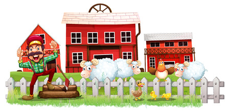 Illustration of a farmer in front of the barnhouses on a white background Vector