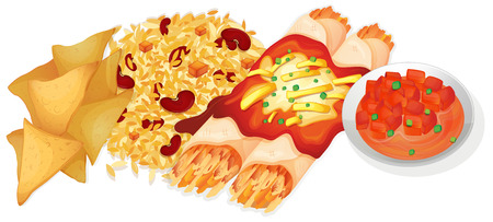 rice and beans: Illustration of mexican food Illustration