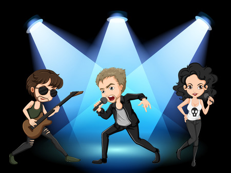 stage performer: Illustration of rock stars on stage