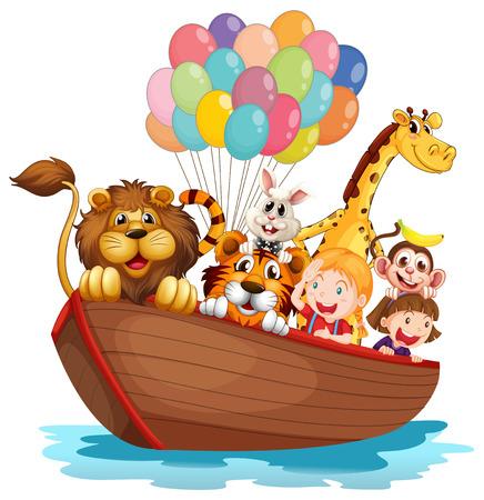 barco caricatura: Ilustración de un barco lleno de animales sobre un fondo blanco Vectores