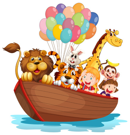Illustration of a boat full of animals on a white background