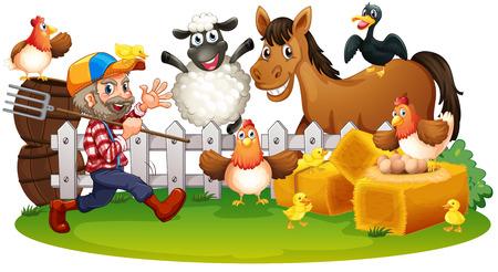 pollitos: Ilustración de los animales de granja en un fondo blanco Vectores