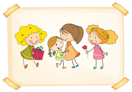 giving gift: Illustration of a frame with happy kids on a white background