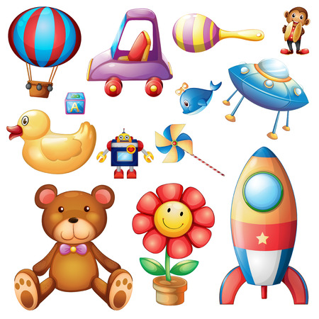 Illustration of the set of different toys on a white background Vector