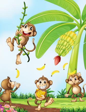 platano caricatura: Ilustración de los monos juguetones cerca de la planta de banano