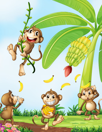 Illustration of the playful monkeys near the banana plant Illustration