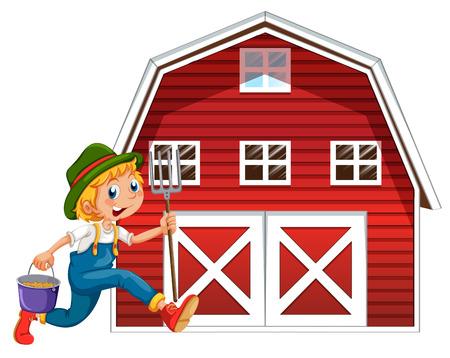 Illustration of a farmer and a barn Illustration