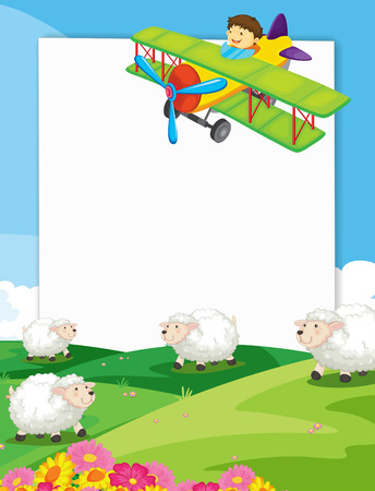 Illustration of a banner with view of a farm Vector