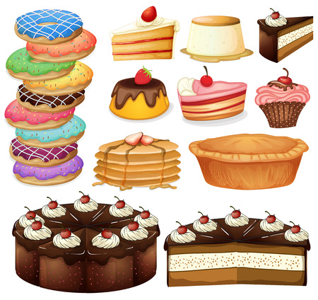 Illustration of many different desserts Vector