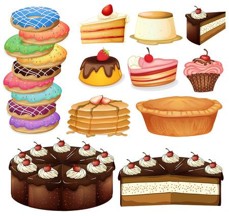 Illustration of many different desserts