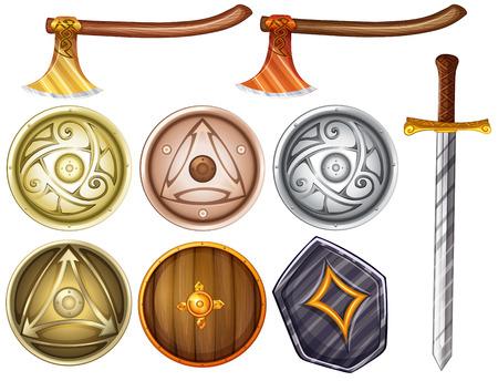 vikingo: Ilustración de escudos y armas Vectores