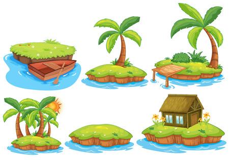 Illustratie van de verschillende eilanden Stock Illustratie