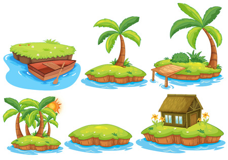 island clipart: Illustration of different islands Illustration