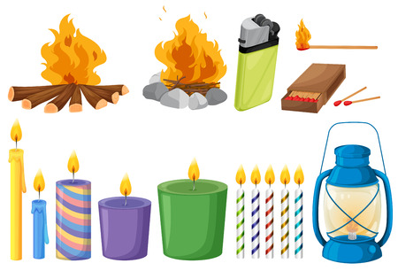 gaseous: Illustration of the set of things that causes fires on a white background
