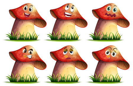 startled: Illustration of mushroom with expressions Illustration