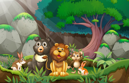 Illustration of many animals in the jungle Vector