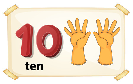 Illustration of a flashcard number 10