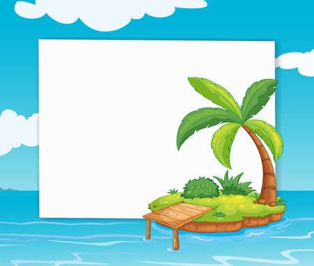 Illustration of a banner with a view of an island Vector