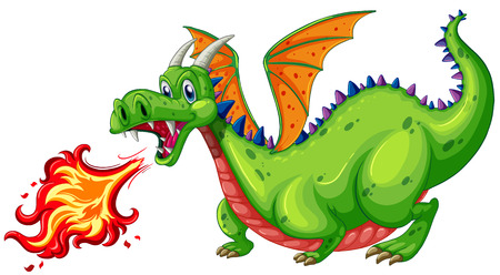 Illustration of a dragon blowing fire Vector