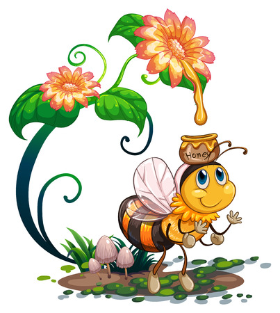 bee on flower: Illustration of a bee under a flower