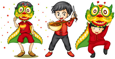 chinese new year food: Illustration of chinese new year