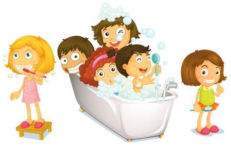 Illustration of many children taking a bath
