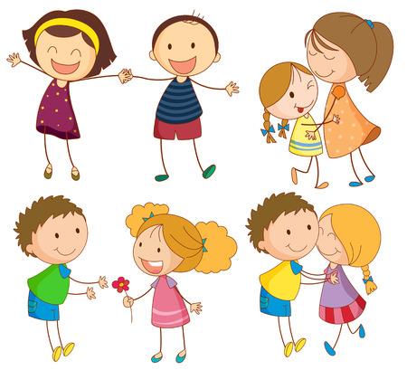 boy and girl holding hands: Illustration of different kind of relationships Illustration