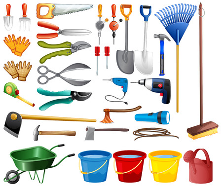 gardening tools: Illustration of different kind of tools