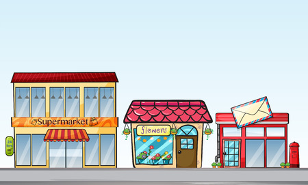 post office building: Illustration of many stores on street